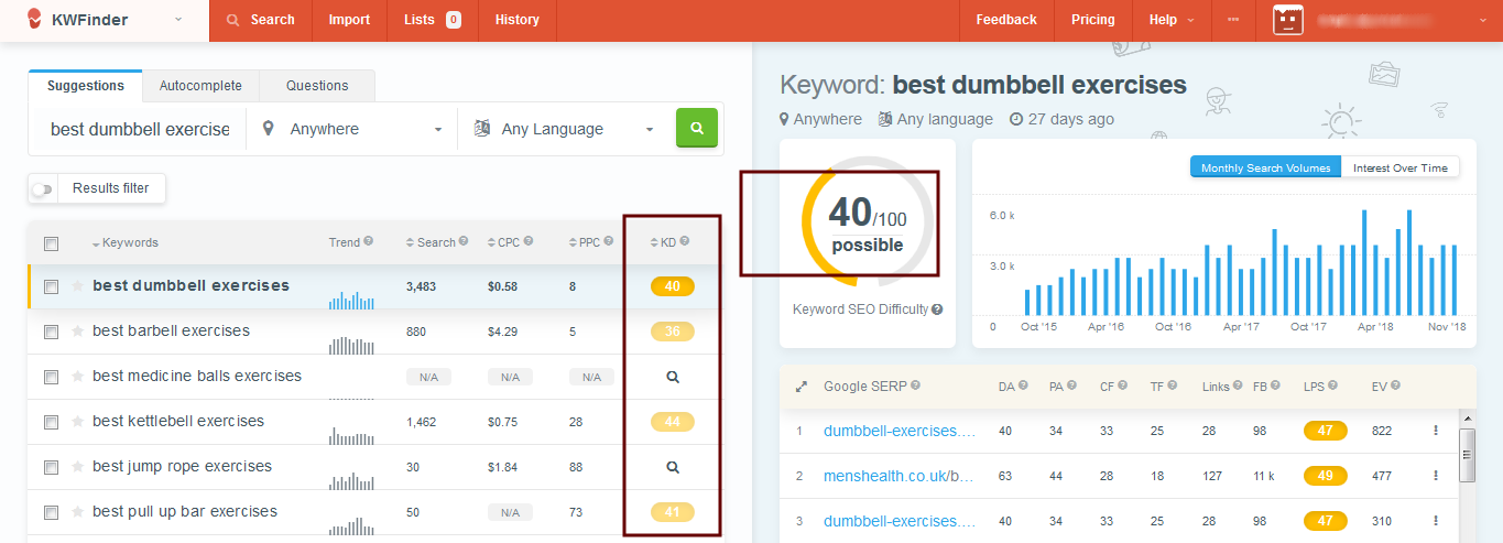 KWFinder - Manual Keyword Research