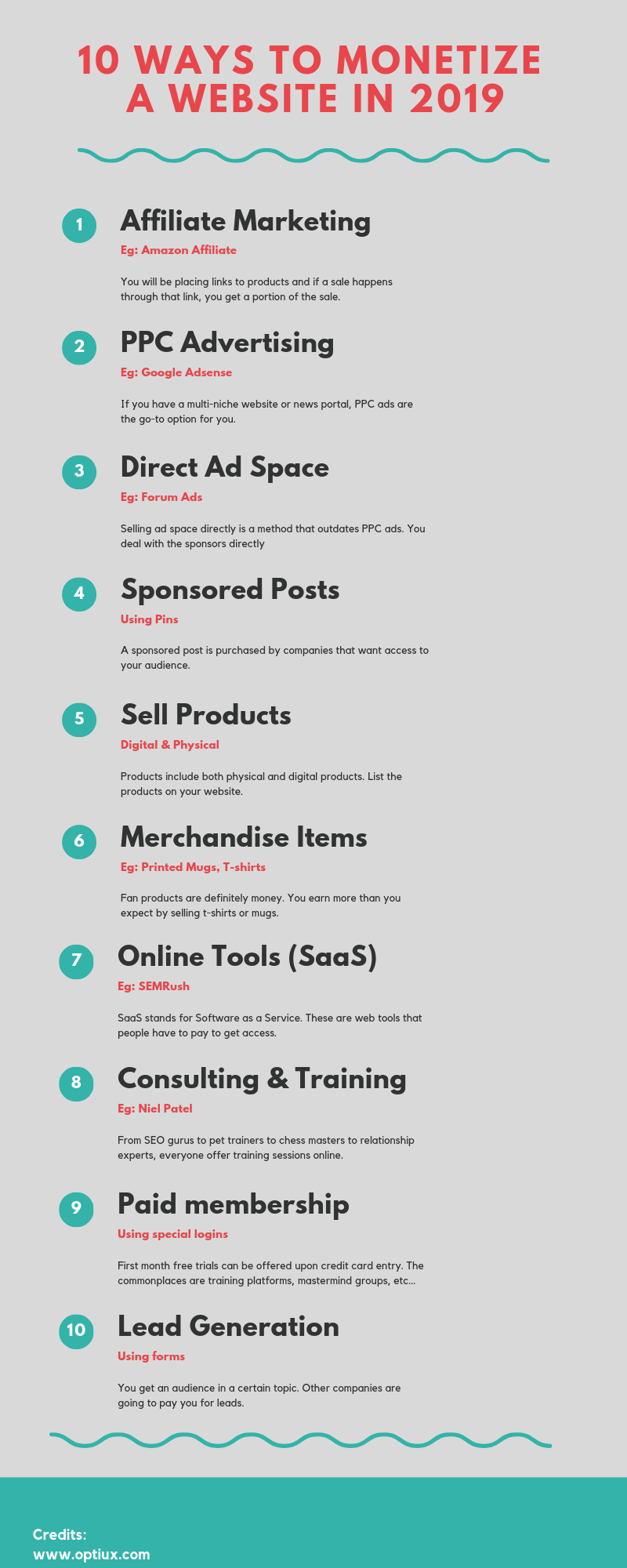How To Monetize A Website Infographic