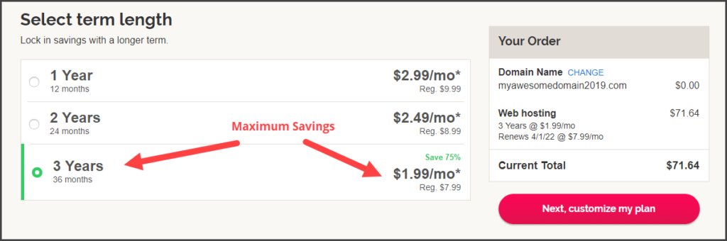 Choose Hosting Plan for Maximum Savings